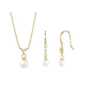 Stylish Pearl & Zirconia 18K Gold Set