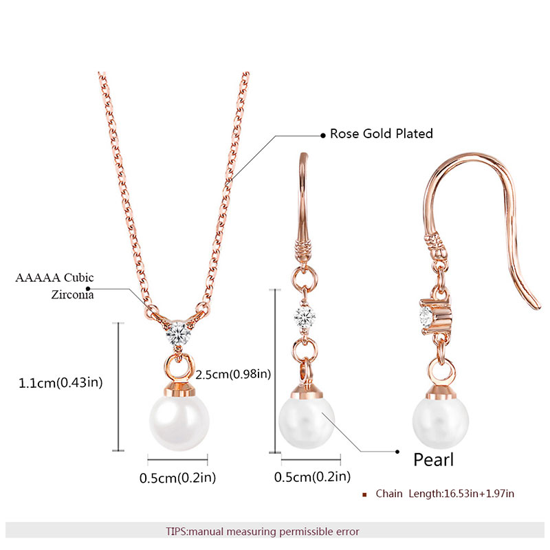 Stylish Pearl & Zirconia Rose Gold Set
