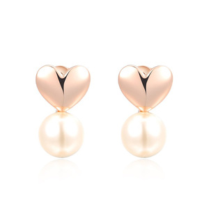 Heart and Pearl Rose Gold Earrings