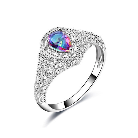 Cut Out Teardrop Colorful Diamond Ring