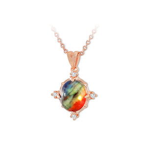 Natural Oval Ammolite Rose Gold Necklace