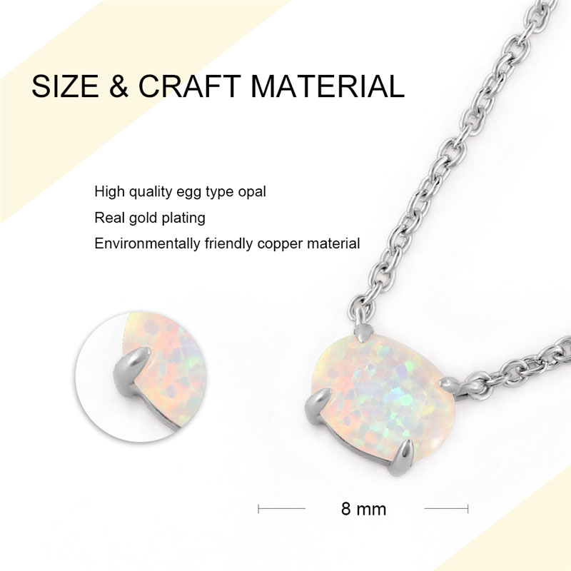 Yourself Egg Opal White Gold Necklace