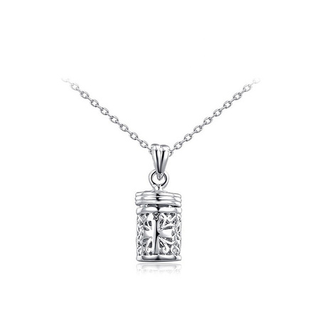 Cut Out Cylinder Pendant Necklace