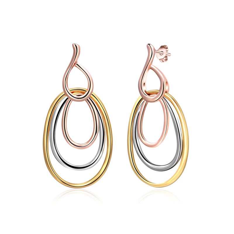 Three-Color Multi-Ring Earrings