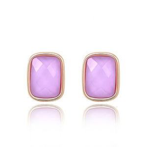 Pink Diamond Stud Rose Gold Earrings