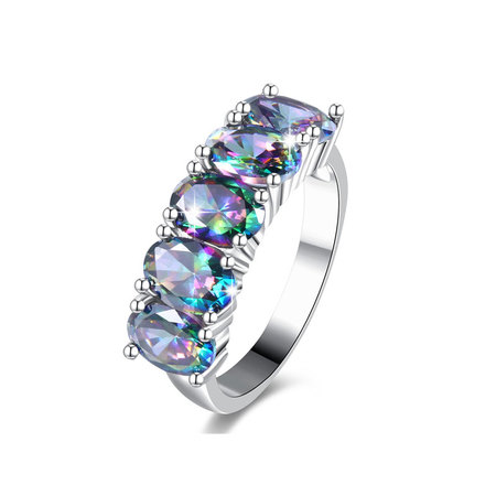 Multi-Colour Five Oval Diamond Ring