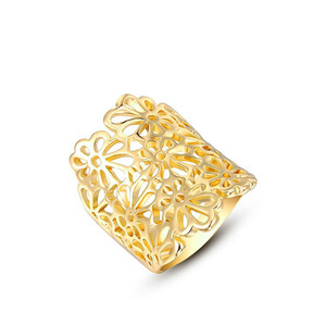 Cut Out Flower Yellow Gold Ring