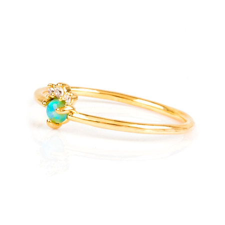 Ins Style 18K Gold Opal Ring