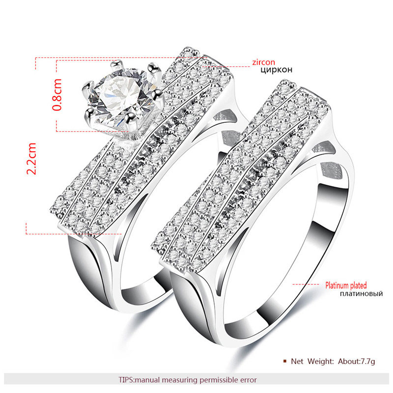 Triangle Bridge Diamond White Gold Couple Rings