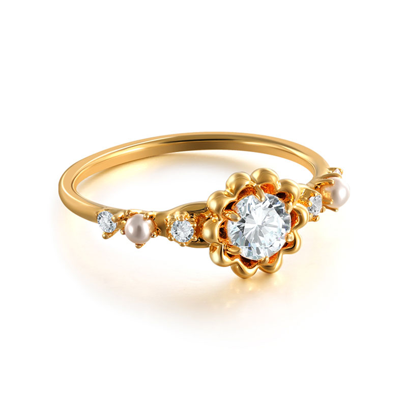 Ins Style Sunflower 18K Gold Ring