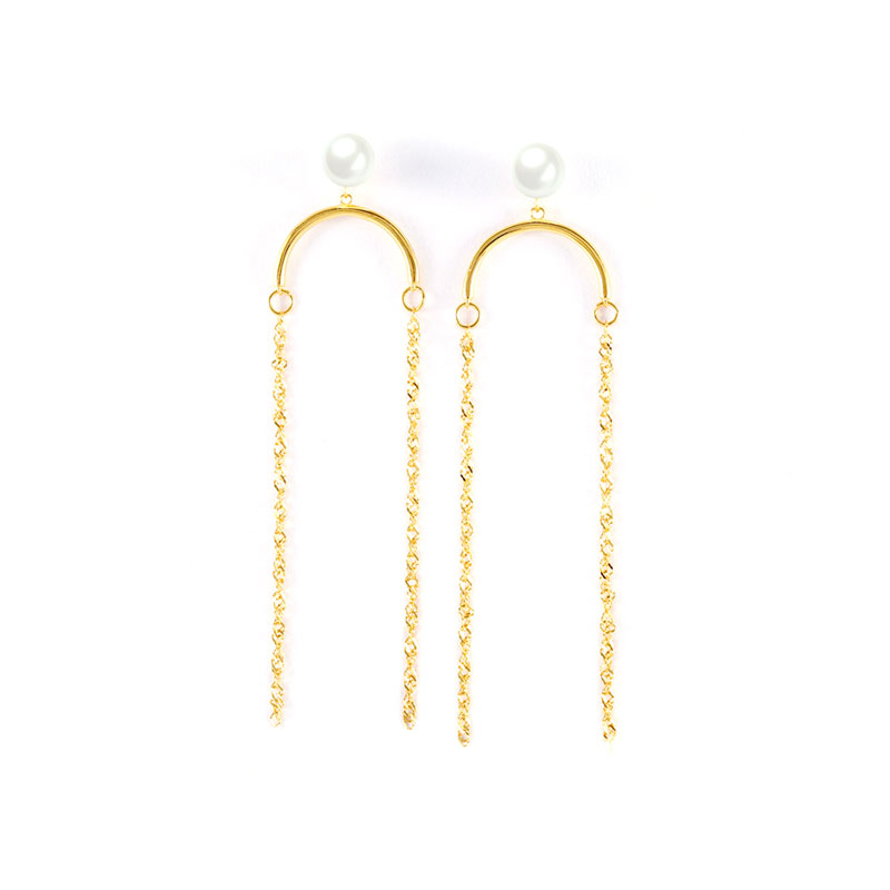 Tassels Sterling Silver Pearl Earrings