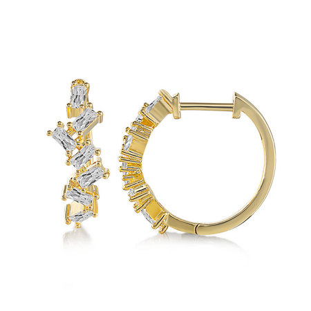 18K Gold Rectangular Diamond Hoop Earrings