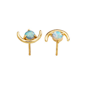 Semicircle 18K Gold Opal Stud Earrings