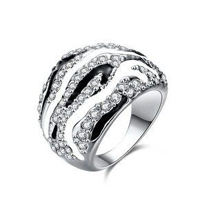 Black and White Stripes Ring - White