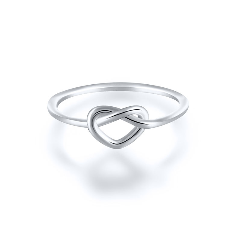 Ins Love Knot Sterling Silver Ring