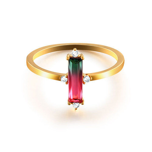 Bar Tourmaline 18K Gold Ring