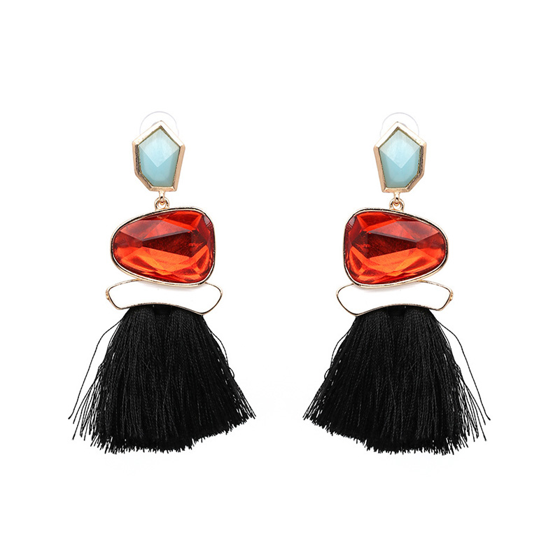 Ethical Style Black Tassel Earrings - Ruby