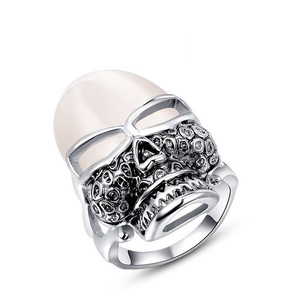 Skull Opal White Gold Ring