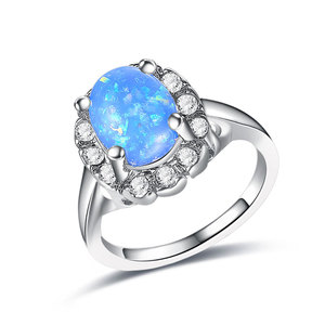 Blue Fossil Opal White Gold Ring