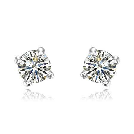 Four Claws Single Diamond Stud Earrings
