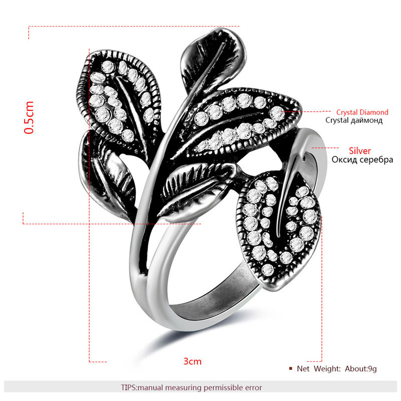 Vines Elongation Silver Oxide Ring