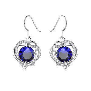 Double Heart Winding Sapphire Earrings