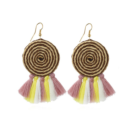 Lollipop Sector Multi-Color Tassel Earrings