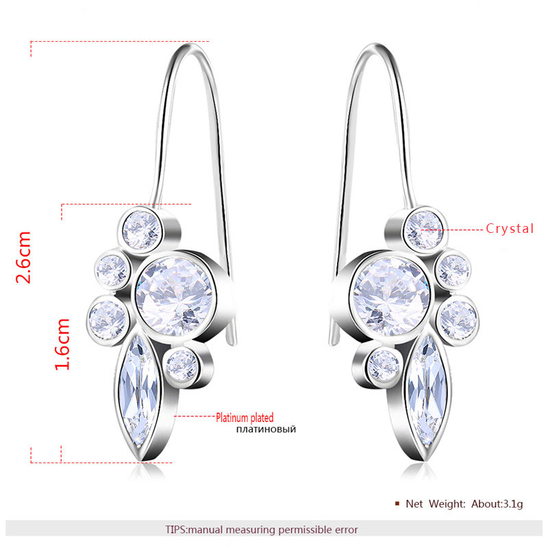 Round & Marquise Diamond White Gold Earrings