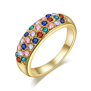 Three Rows Mixed Diamond Ring - Yellow
