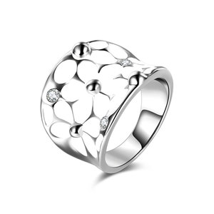 White Petals Enamel White Gold Ring