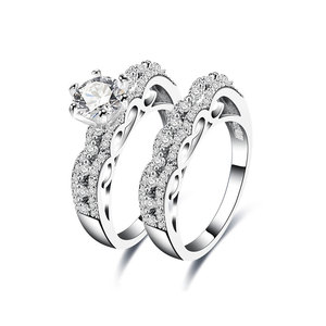 Wavy Line Diamond Couple Rings