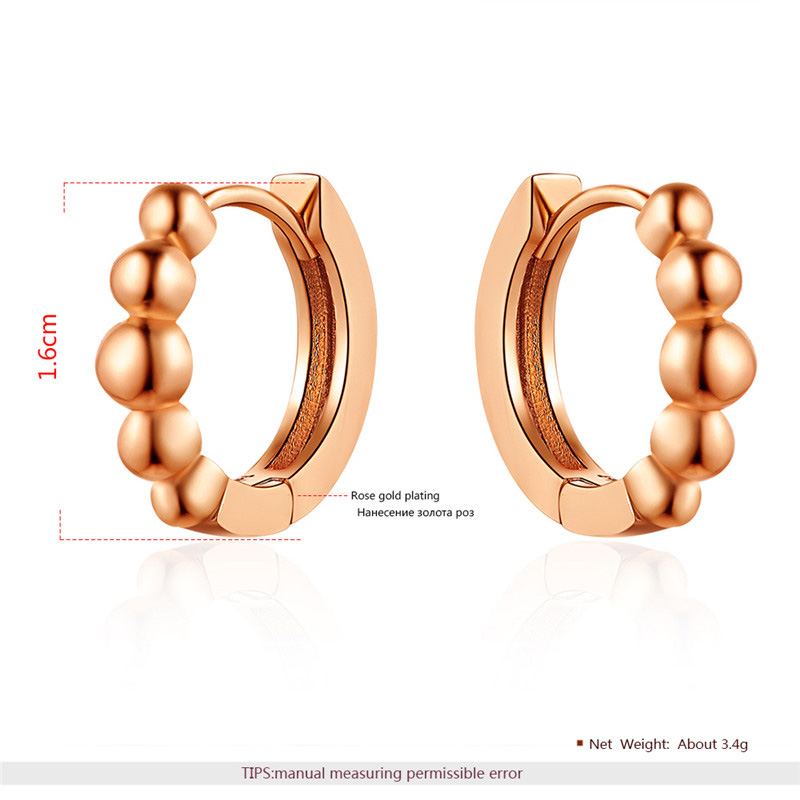 Fashion Concise Rose Gold Hoop Earrings