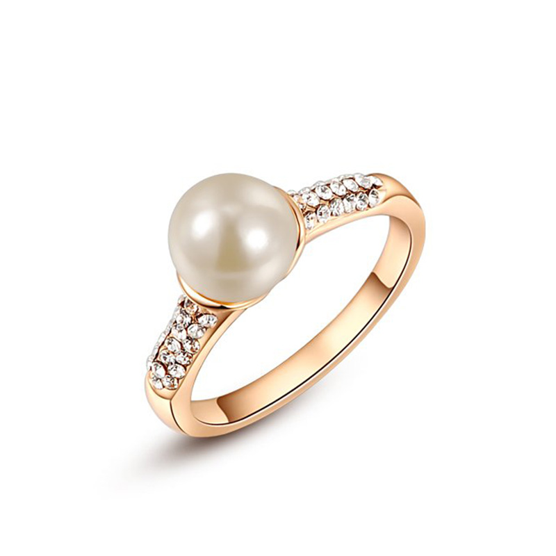 Single Pearl Rose Gold Ring