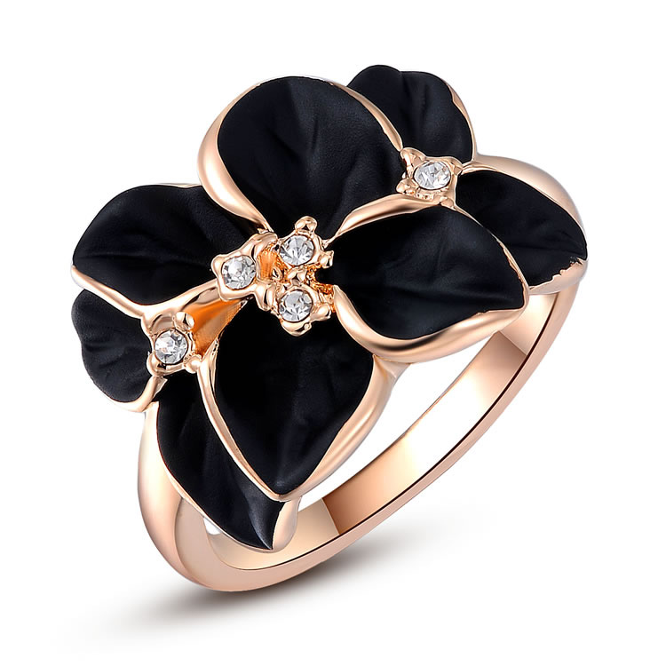 Black Flower Rose Gold Ring