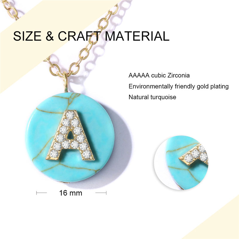 Natural Turquoise English Letters Pendant 18K Gold Necklace