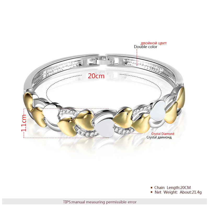 Two-Tone Heart Enamel Bangle