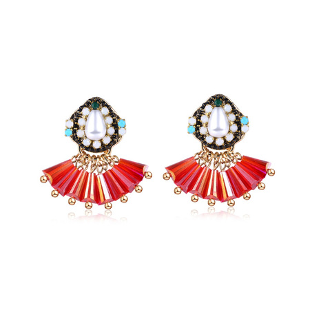 Sector Red Beads Tassel Earrings