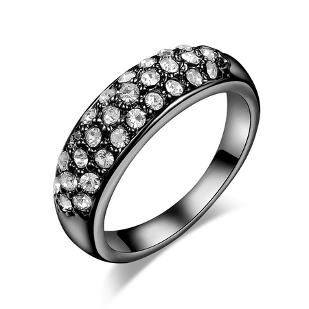 Three Rows Diamond Gun Black Ring
