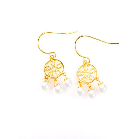 Chinese Knot Sterling Silver Pearl Earrings