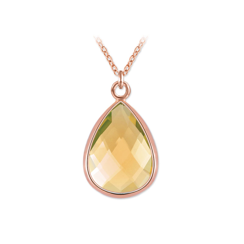 Teardrop Topaz Rose Gold Pendant