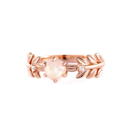 Salix Leaf Opal Rose Gold Ring