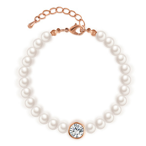 Alone Diamond Pearl Chain Bracelet