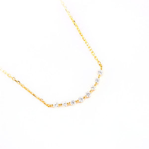 Arc-Shaped Diamond Sterling Silver Necklace