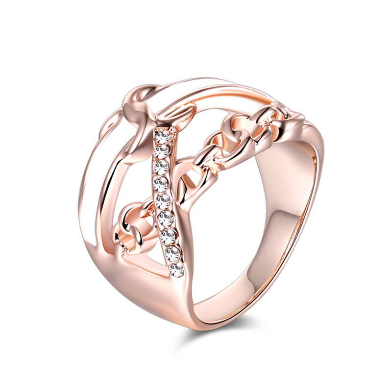 Chain Cross Enamel Rose Gold Ring