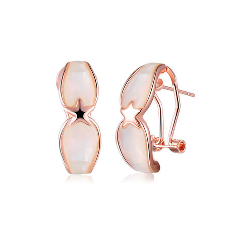 Pentagram Shell Rose Gold Earrings