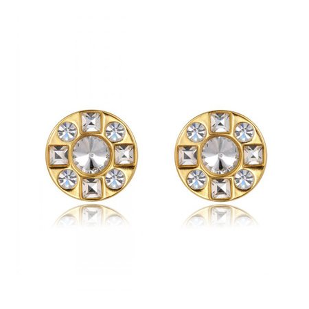 Round Rhinestone 18K Gold Earrings