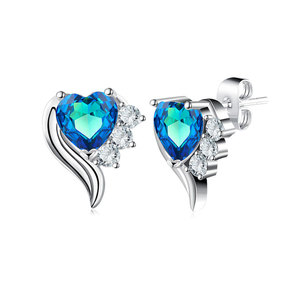 Angel's Wings Heart Sapphire Earrings