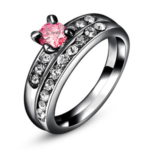Gun Black Pink Diamond Wedding Ring Set