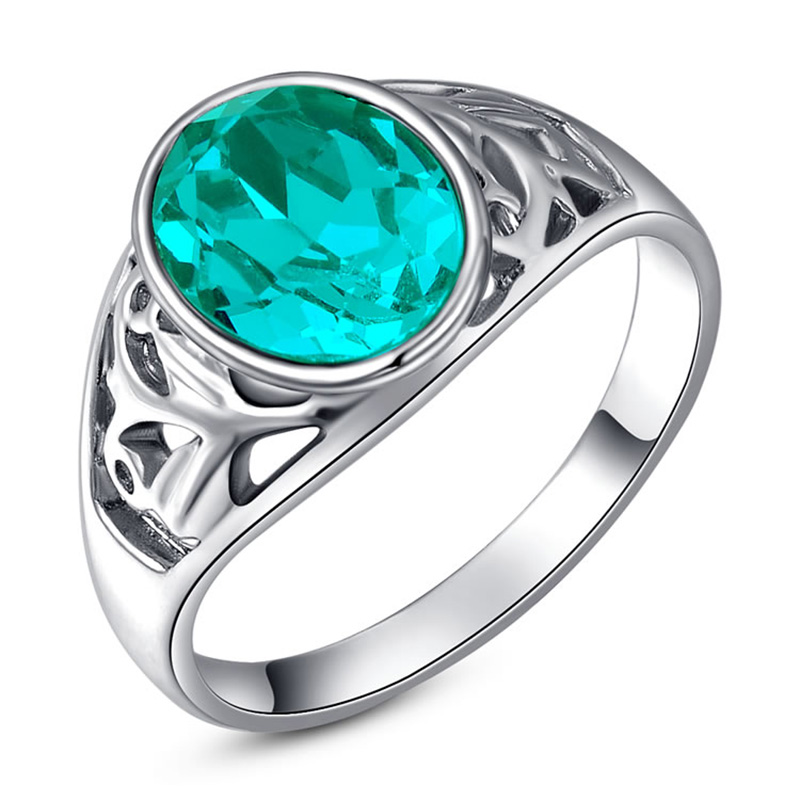 Oval Emerald White Gold Ring