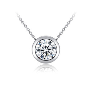 Circle Simplism Diamond Pendant Necklace